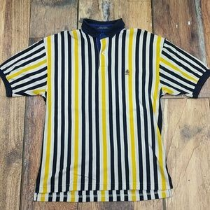 Vintage Blue and Yellow Stripped Hilfiger Polo Lg